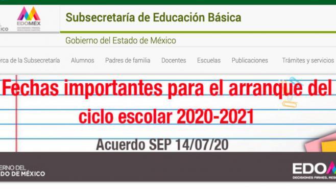 Conoce las Fechas Importantes del Ciclo Escolar 2020-2021 en el EDOMEX