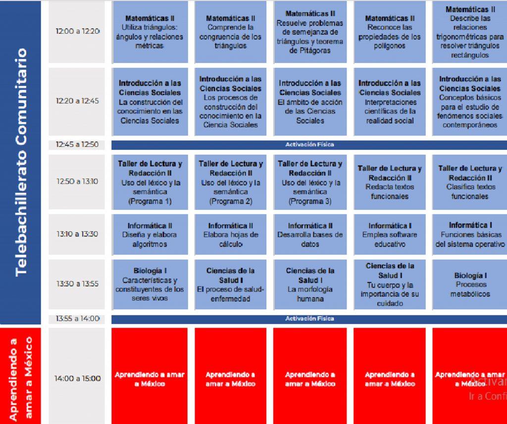 Materias y horarios de Bachillerato del 24 al 28 de agosto