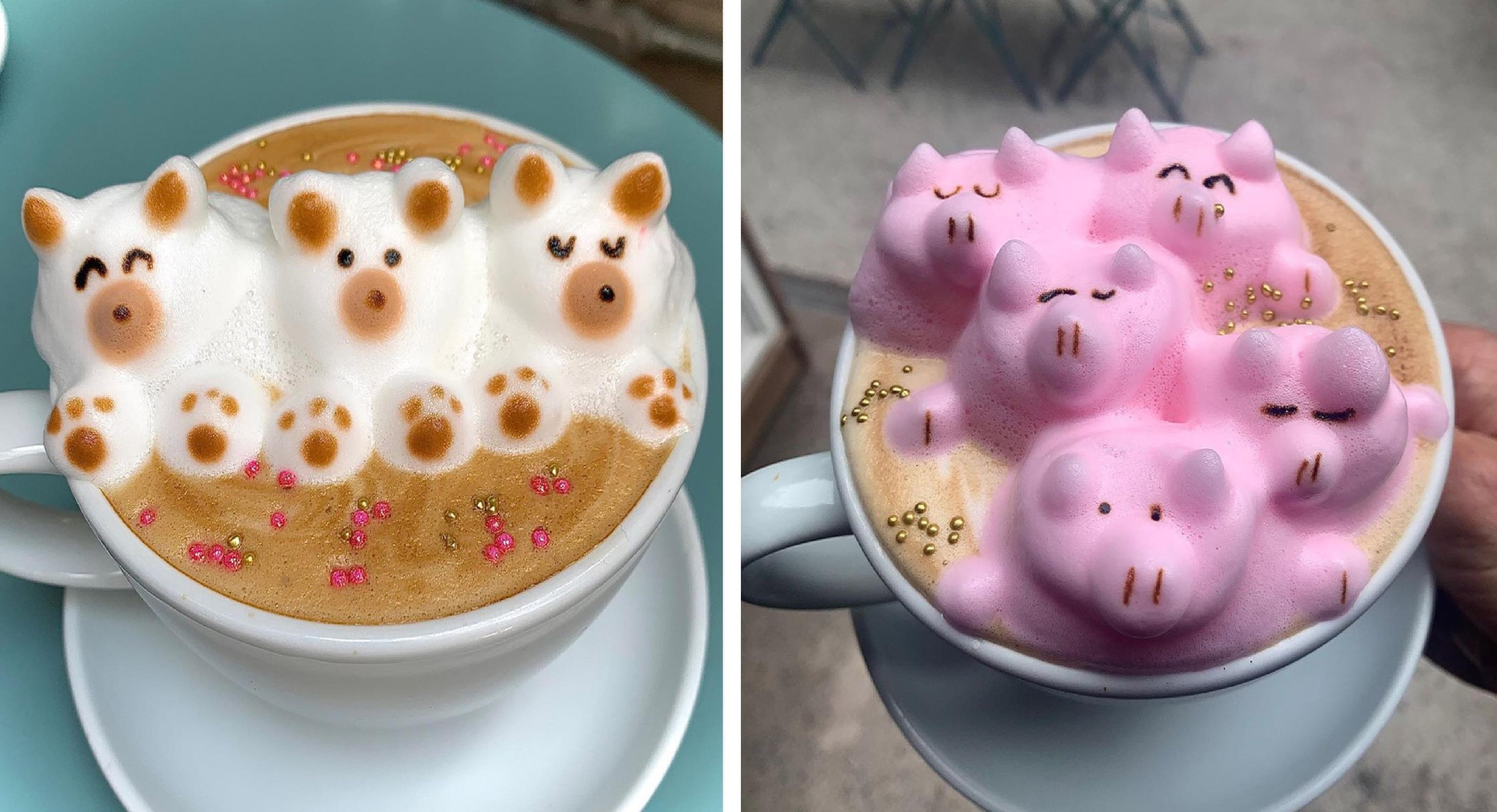Conoce el lindo café con espuma de diferentes animalitos