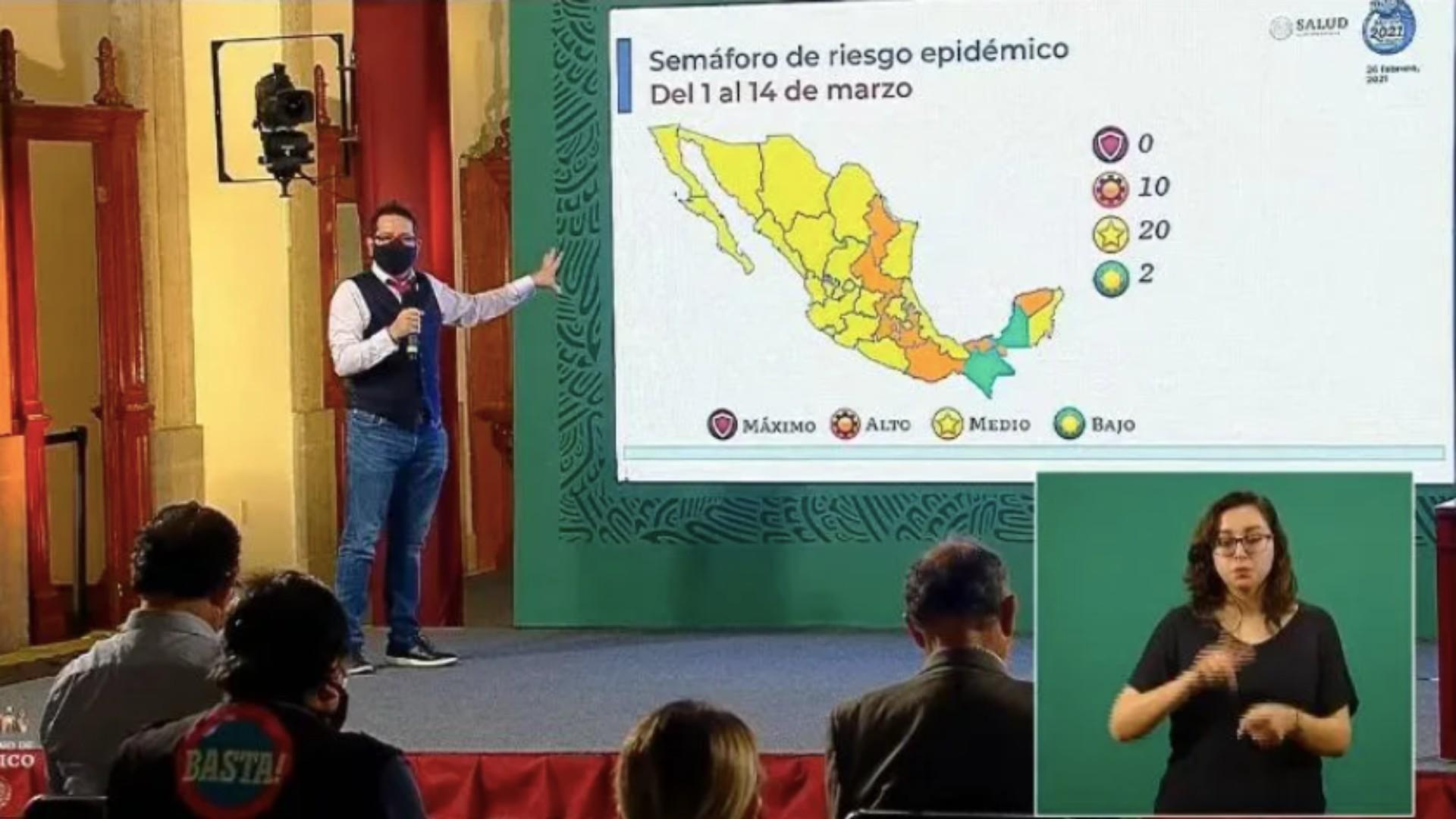 Una buena noticia es que la mayoría de los estados en el país han pasado a semáforo amarillo, esto debido a la reducción de las hospitalizaciones registradas en México