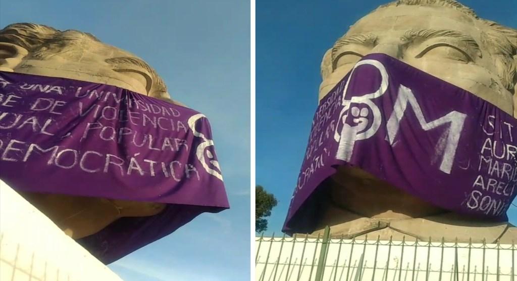 8M    Intervienen busto de Adolfo López Mateos en la UAEMex en el día de la mujer en la universidad autónoma del estado de mexico, acoso uaemex