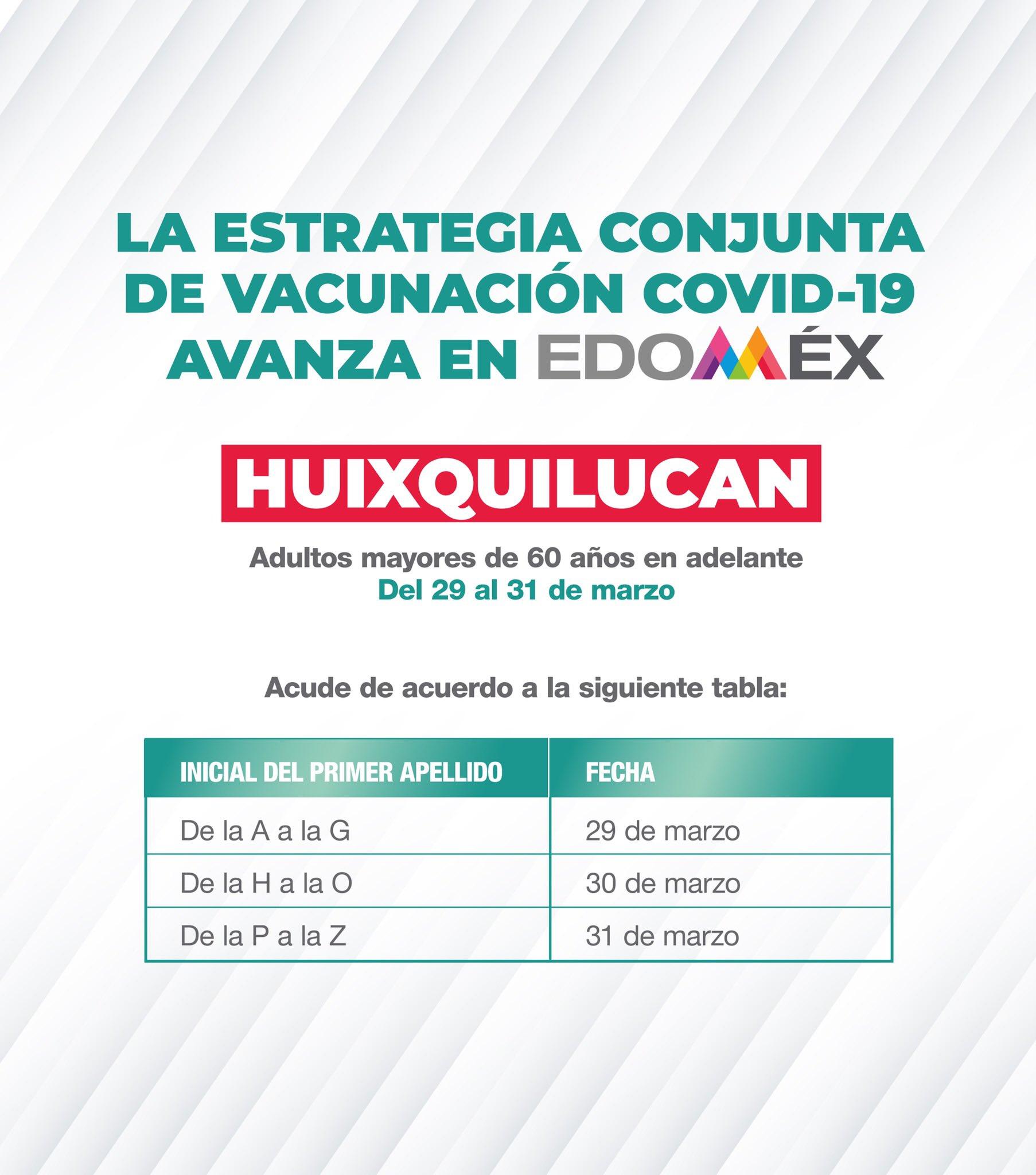 Del 29 al 31 de marzo se llevará a cabo la vacunación contra COVID-19 para las personas adultas mayores de Huixquilucan