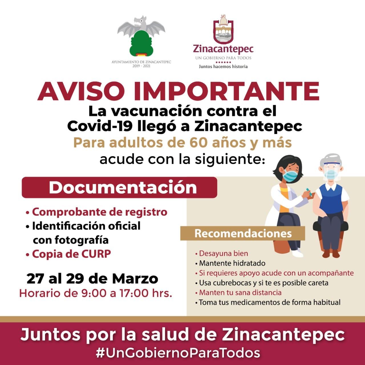 La vacunación contra COVID-19 en Zinacantepec se llevará a cabo del 27 al 29 de marzo.