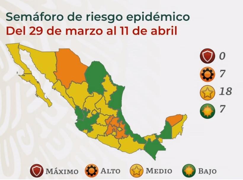 El Gobierno de México presentó el mapa actualizado del semáforo COVID de las entidades de la República Mexicana