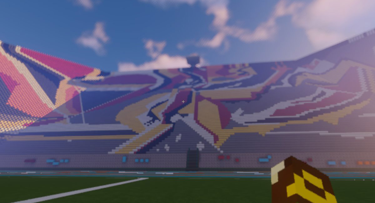 recrean estadio alberto chivo cordoba y el mural aratmósfera dde leopoldo flores a la plataforma de video juego minecraft