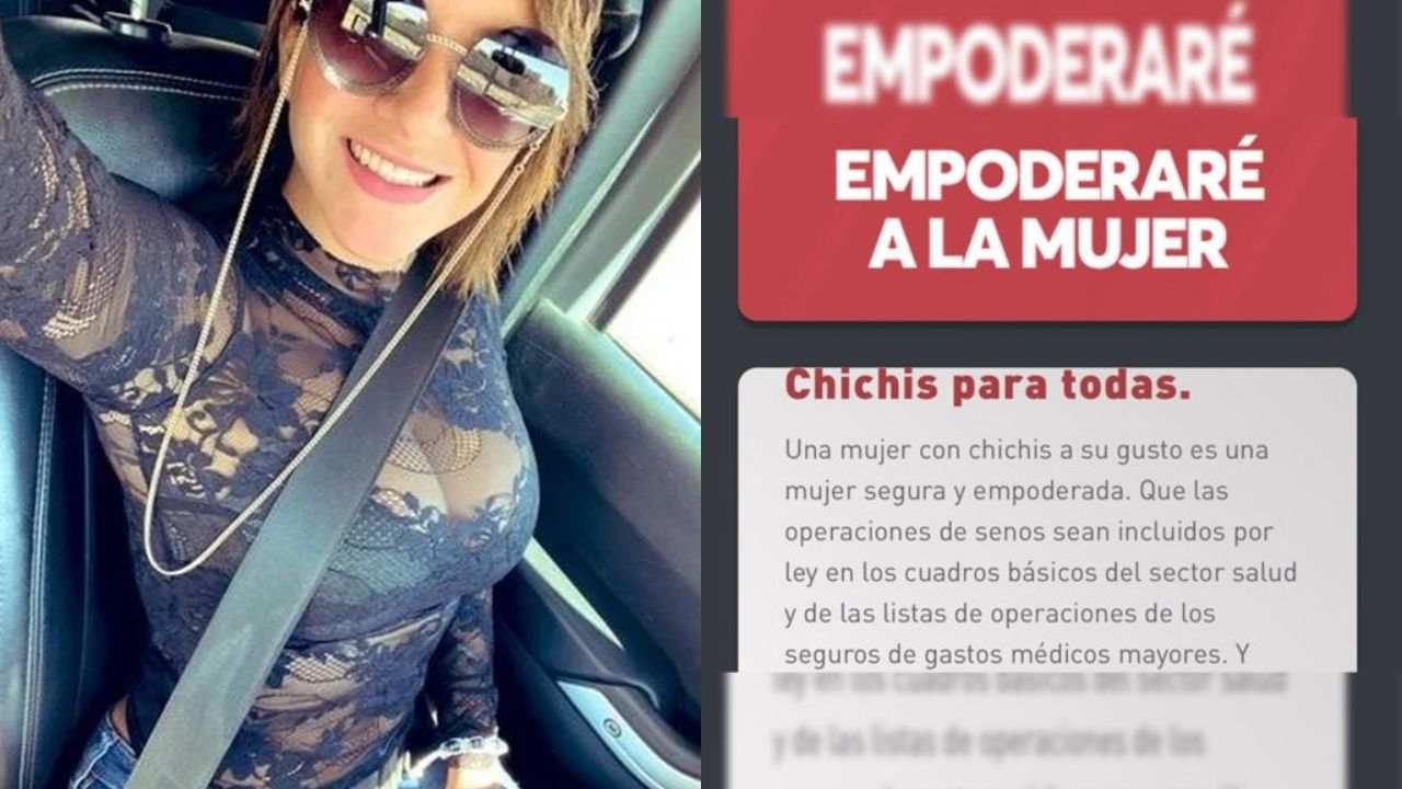 La candidata a diputada por el partido Redes Sociales Progresistas (RSP) propone operación de senos pagada por el gobierno bajo el lema chichis para todas
